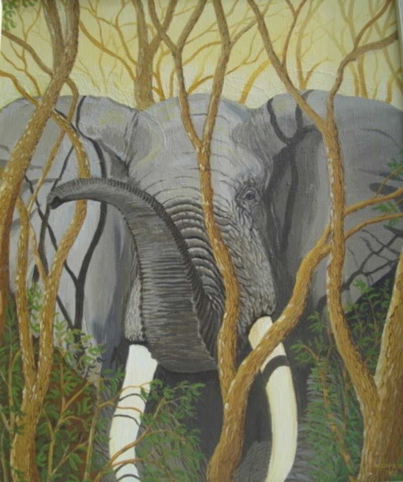 African elephant painting of a bull elephant in the trees.