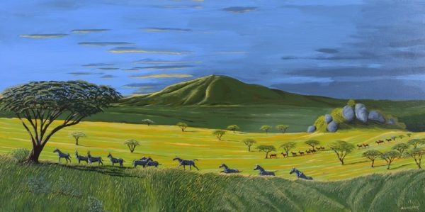 African landscape painting of the Serengeti.