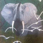 Bull elephant painting of a male elephant.