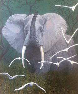 Bull elephant painting of a male elephant.