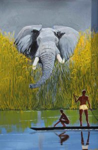 Elephant painting of bull elephant emerging from tall grass.