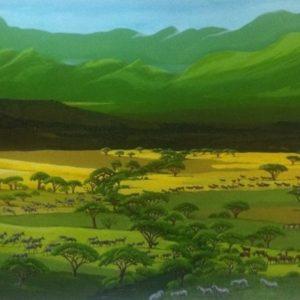 African savanah painting from Tarangire andacross Savanah towards the mountains of Ngorongoro.