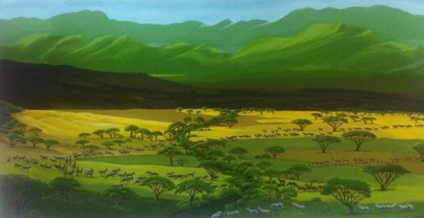 African savanah painting from Tarangire and across Savanah towards the mountains of Ngorongoro.