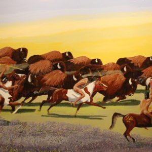 Blackfoot First Nations hunting buffalo painting.