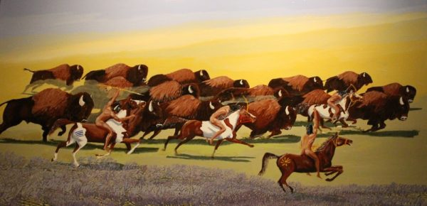 Blackfoot First Nations hunting buffalo painting.