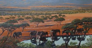 Wildlife painting of African elephants at the watering hole.