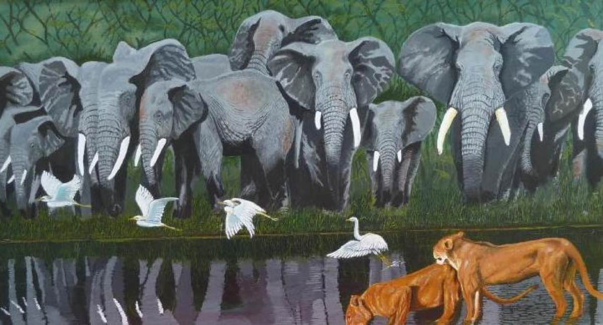 Elephants and lions painting of elephants and lions, together at the watering hole.