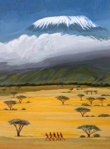 African landscape Kilimanjaro painting, Kilimanjaro, two million years ago.