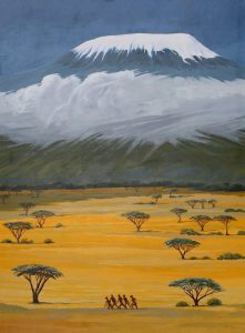 African landscape Kilimanjaro painting, Kilimanjaro, two million years ago.