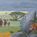 Leopard staling prey painting of leopard preying on early man, Homo Erectus.