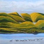African landscape painting ofNgorongoro and Lake Magadi.
