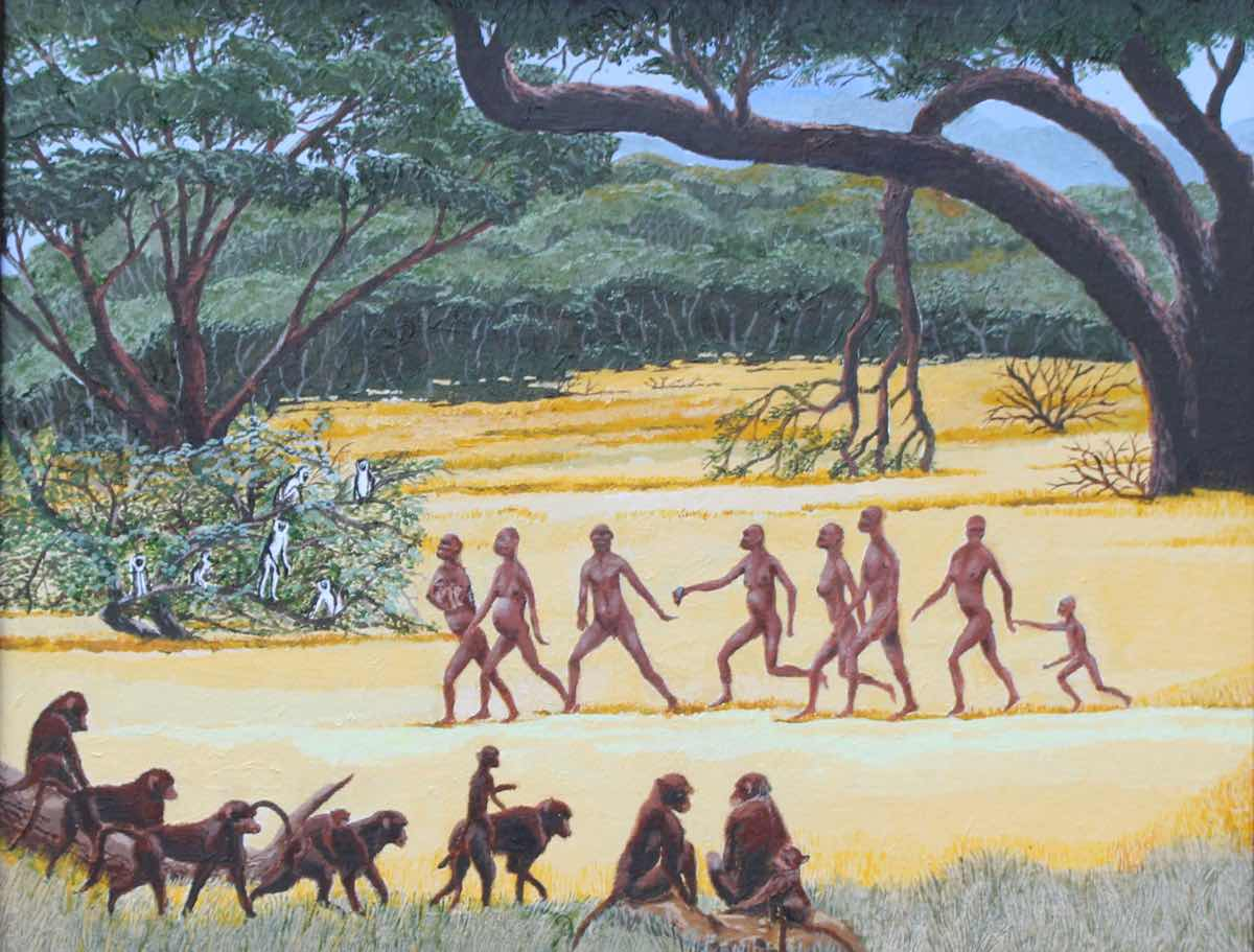 Early man painting of Homo Habilus.