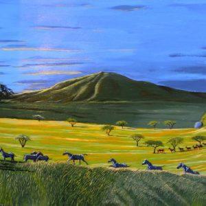 African Serengeti landscape wildlife painting