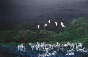 Zebra herd painting of zebras gathering at the waterhole.