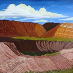 Landscape painting of Alberta Badlands.
