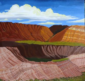 Landscape painting of Alberta Badlands.
