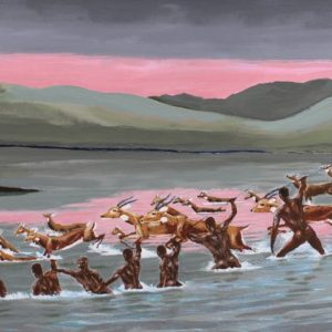 Antelope painting of Kobs crossing the river with hunter-gathers waiting.