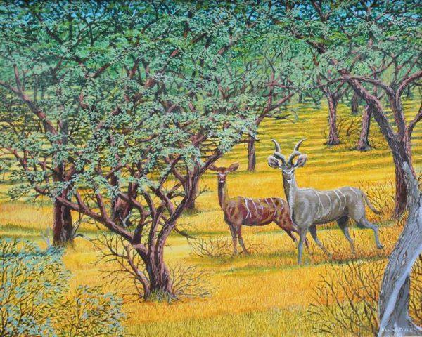 African antelope painting of Kudus.