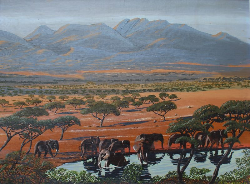 Elephant herd painting of elephants gathering at the water hole in Tarangire National Park.