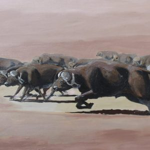 African buffalo painting of African Cape Buffaloes.