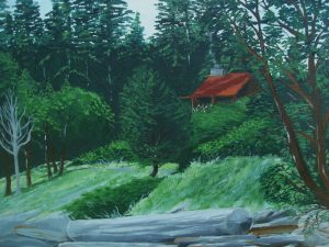 Cottage on the lake painting of a cottage by the lake.
