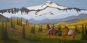 Cowboy painting, cowboy comes across a Grizzly bear and her cub.