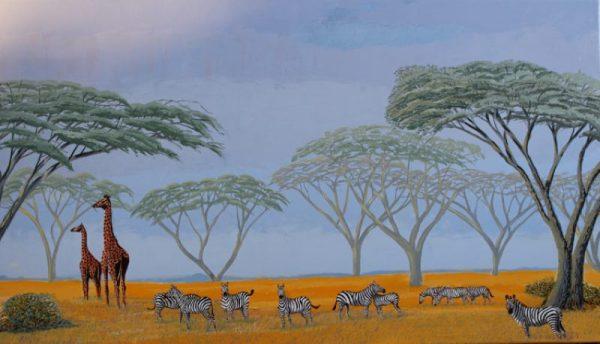 Zebra painting of zebras grazing on the Serengeti.