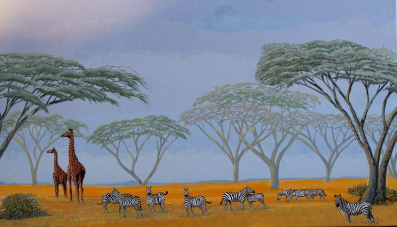 Zebra painting of zebras grazing on the Serengeti.