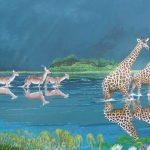 Giraffes painting of giraffes and gazelles in a flood at Okavango.