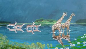 Giraffes painting of giraffes and gazelles in a flood at Okavango.