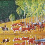 Cowboy herding cattle painting cowboys herding cattle.