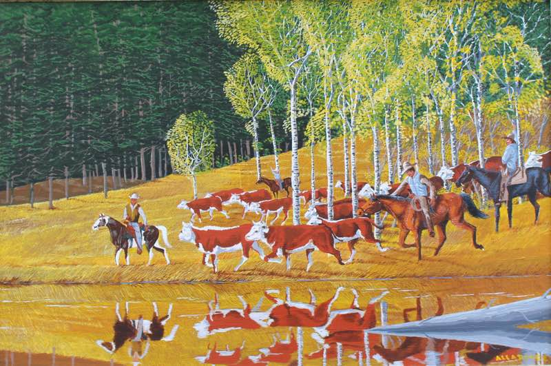 Cowboy herding cattle painting cowboys herding cattle.