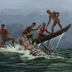 Hippopotamus painting of an hippo attacking an canoe.