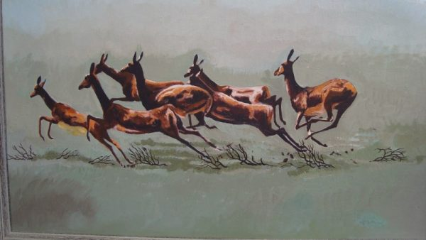 Impala antelope painting of impalas leaping in the Serengenti.