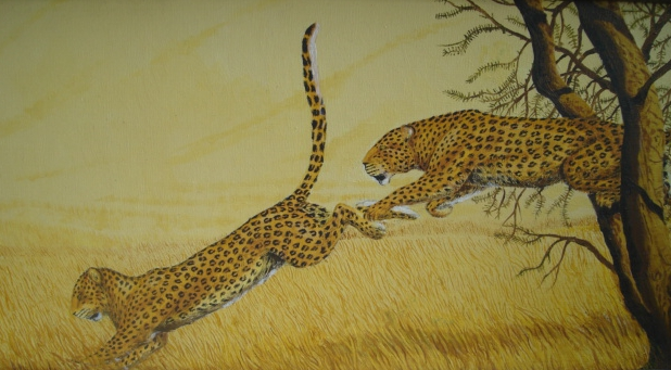Leopard painting of two leopards jumping.