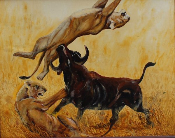 Lion painting of a buffalo warding of two attacking lions.