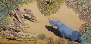 Rhinoceros painting of a rhinoceros charging early man back to the trees.