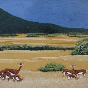 """Thomson's gazelle painting of """"Tommies"""" grazing the Serengeti."""