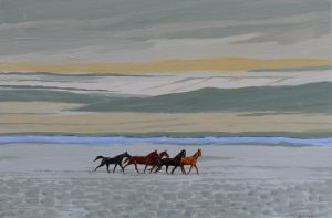 Wild horse painting of a herd of horses.