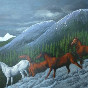 Horse painting of wild horses going down the side of a mountain.