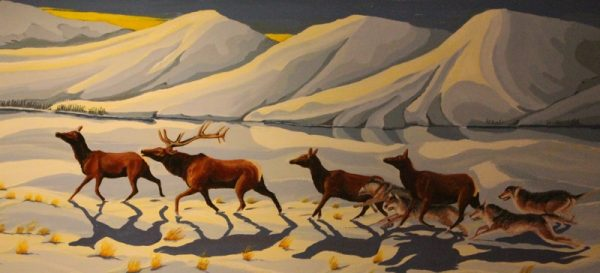 Wolves chasing Moose painting.