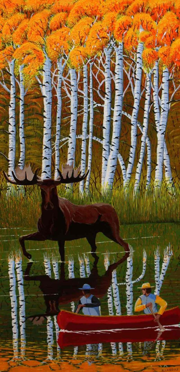 Wildlife painting of a bull moose.