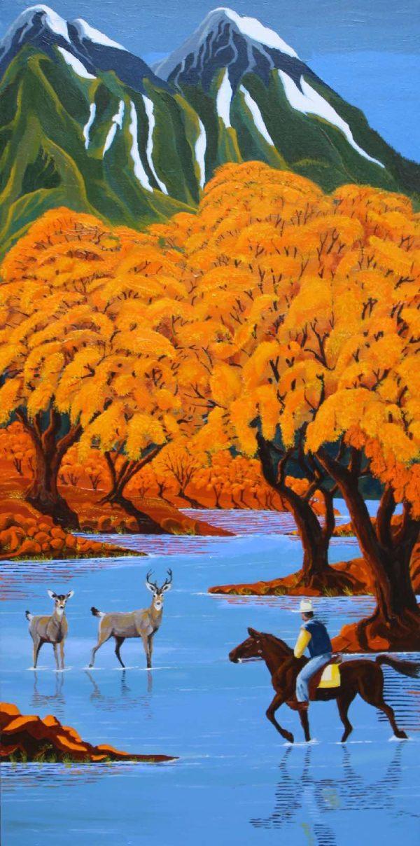 Deer on river painting