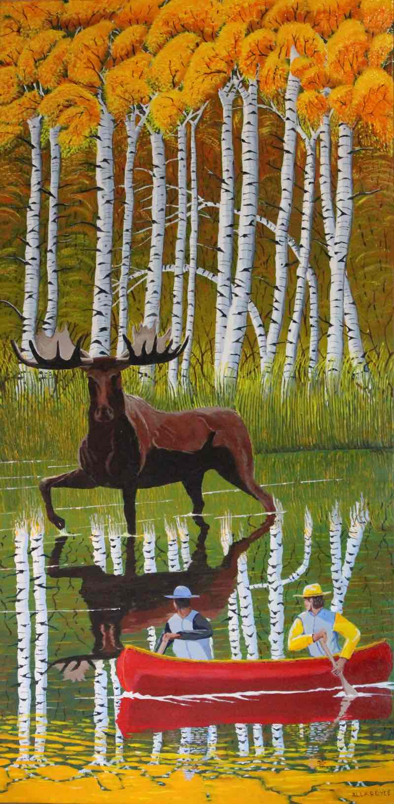 Painting of a bull moose.