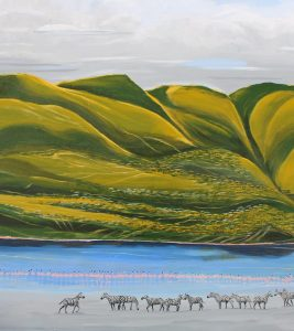African landscape painting of Ngorongoro and Lake Magadi.