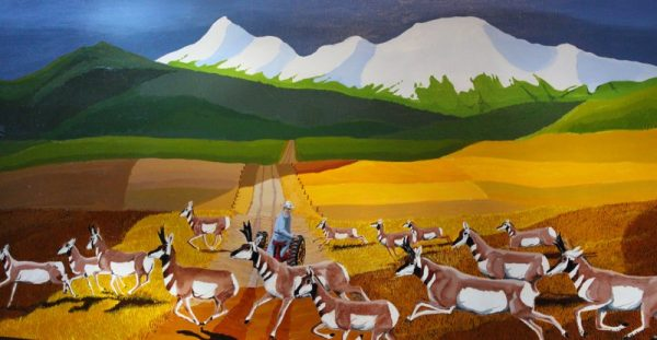 Painting of Pronghorns migrating across the road.