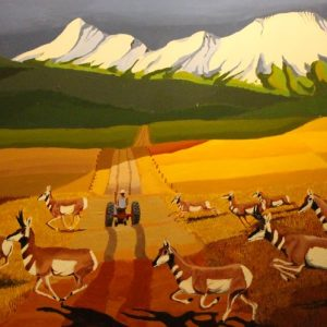 Painting of pronghorns crossing the road.