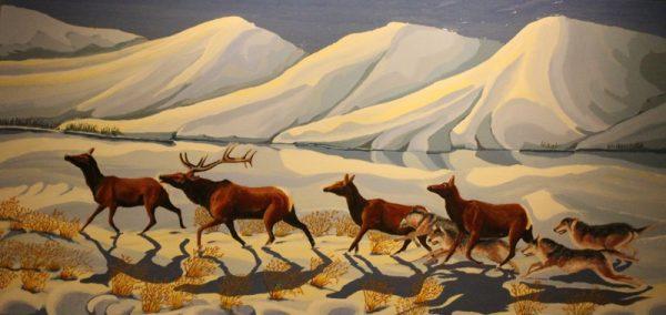 Wolves chasing Elk painting.