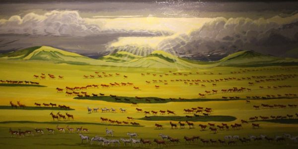 Painting of Antelopes and Zebras on the Serengeti.
