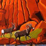 Big horn sheep americas wildlife painting